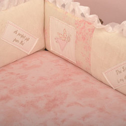 Cotton Tale Designs - Heaven Sent Girl Bumper - A quality baby bedding set is essential in making your nursery warm and inviting. All Cotton Tale patterns are made using quality materials and are uniquely designed to create your perfect nursery. The Heaven Sent Girl Collection is a beautiful combination of Pinks and Cream. Touches of sheer cloud like fabrics and soft minky make this pattern irresistible. The bumper is appliqued with spiritual messages celebrating the joy of birth. Heaven Sent, A Perfect Gift from God, The Lord is my Sheppard, and I am Wonderfully Made, are the four embroidered blessings on white linen patches accompanied by sweet appliqued angels, sheep and wrapped gifts. The 4 sectional bumpers patch worked front and back. Long sides of bumpers are 52x11 and short sides are 26x11. Wash gentle cycle, separate, cold water. Tumble dry low or hang dry. This collection is perfect for your little girl.