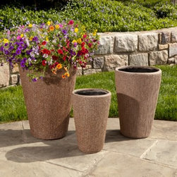 Alfresco Home Graffiato Tall Round Planter - A blend of contemporary elegance ad lasting function, the Alfresco Home Graffiato Tall Round Planter is just what you need to showcase your blooms in style. A beautiful, hand-applied Earthstone patina finish gives each planter a unique character, ensuring no two planters are exactly alike. It's normal for the color to change over time due to UV rays and general weathering of the patina. Fiberglass, combined with resin and other composite materials, make this a highly durable, yet lightweight planter that will offer years of enjoyment.Dimensions:Large Planter: 15L x 15W x 23.5H inchesMedium Planter: 13L x 13W x 18.5H inchesSmall Planter: 9.5L x 9.5W x 14.5H inchesAbout Alfresco HomeOffering a wide selection of fashionable products, from casual furniture and garden lighting to permanent botanicals and seasonal decor, Alfresco Home casual living products offer a complete line of interior and exterior living furnishings and accents. Based out of King of Prussia, Penn., Alfresco Home continues to blend indoor and outdoor furniture to create a lifestyle of alfresco living inside and outside of the home. Inlaid mosaic tabletops, fine hardwood furnishings, artisan-inspired accents, premium silk botanicals, and all-weather wicker sets are just a few examples of the kind of treasures you'll find in Alfresco's specially designed collections.Please note this product does not ship to Pennsylvania.