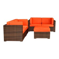 Amazonia - Nice 5 Pc Sectional Set w Orange Cushions - Set includes Ottoman and 4 Corner Chairs. Aluminum and Synthetic Wicker frame. Free feron gard vinyl preservative for longest strap durability. It works great against the effects of air pollution salt air, and mildew growth. For best protection, perform this maintenance every season or as often as desired. Dark Brown Wicker. Orange Cushion. Great functionality. Cushions are included. Water Repellent Polyester Cushions. Warranty: 1 year. Corner: 32 in. W x 32 in. D x 27 in. H. Ottoman: 28 in. W x 28 in. D x 13 in. HGreat quality, stylish design patio sets, made of aluminum and synthetic wicker. Polyester cushion with water repellant treatment. Enjoy your patio with elegance all year round with the wonderful Atlantic outdoor collection.