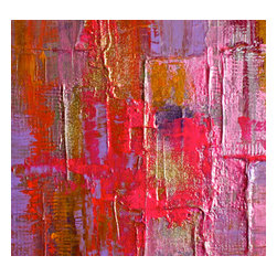 """Bryan Boomershine Art - Red and Pink Abstract Painting - Title: Passion Heat, 11"""" x 16"""", Purple, Gold abstract modern original textured painting, bold and bright."""