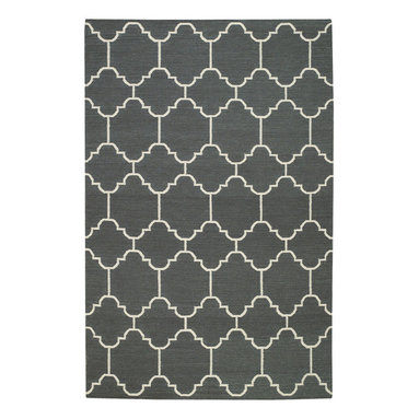 """Arabesque rug in Pigeon - """"A classic tile pattern from the middle east and northern Africa, it's one of my go to mosaics in flooring. By switching mediums and using it on a rug gives it new life."""" -Genevieve Gorder"""