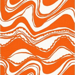 Schumacher - Carmel Coastline Print Fabric, Tangerine - 2 Yard Minimum Order