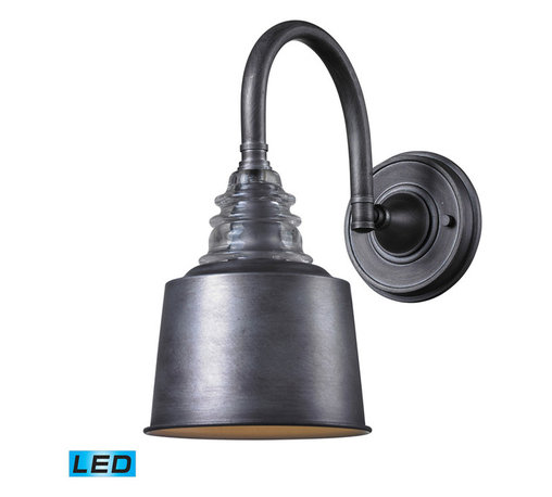 ELK Lighting - ELK Lighting 66823-1-LED Insulator Glass Weathered Zinc Wall Sconce - ELK Lighting 66823-1-LED Insulator Glass Weathered Zinc Wall Sconce