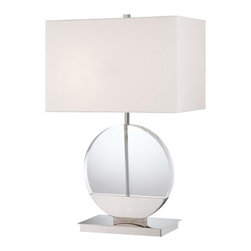 "Kovacs - Kovacs P764-613 26.5"" 2 Light Table Lamp - Bulbs Included - Kovacs P764-613 Dual Light Table Lamp - Bulbs IncludedA classic fixture with a twist, this ultra modern two light table lamp will enhance the style of any room. Featuring a clear circular lamp body with opaque detailing and a simple white fabric shade, this innovative design can be appreciated both as a piece of furniture and a piece of modern art.Kovacs P764-613 Features:"