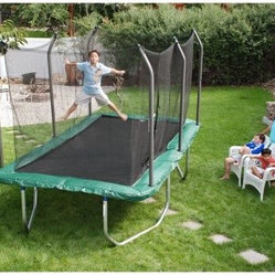 Skywalker Rectangle 8 x 14 ft. Trampoline with Enclosure - Getting your kids to exercise just got a whole lot easier. For every ten to 20 minutes of jumping on the Skywalker 8 x 14 Rectangle Trampoline with Enclosure they'll be getting as much exercise as from 30 minutes of jogging. Jumping on a trampoline provides a low-impact low-stress workout that benefits the stomach arms and legs. For kids all that jumping can keep them toned give them better balance and coordination and improve their posture. The Skywalker 8 x 14 Rectangle Trampoline with Enclosure is designed for jumpers age 6 and older and supports a maximum weight of 200 pounds. Its 16-guage galvanized steel frame won't rust and its heavy duty PVC jumping mat is 1.5 inches thick and fade-resistant. An extra-wide vinyl safety pad covers the frame and the springs and it even features UV protection! The enclosure provides a secure jumping environment and the opening secures with a vertical zipper and three safety clips. About Skywalker Holdings LLCSkywalker Holdings LLC produces high-quality trampolines bike racks and other fun family activity products that are designed to give you the most for your money. With a staff that boasts over 35 years of combined experience Skywalker focuses their attention on superior designs (with many patents pending) and innovative creations that provide you with safety and satisfaction. With a 563 000 square foot facility completed in October 2005 Skywalker took their place at the head of the list - theirs is the largest trampoline manufacturing facility in the world and is ISO certified. Trust your family fun to Skywalker Holdings.