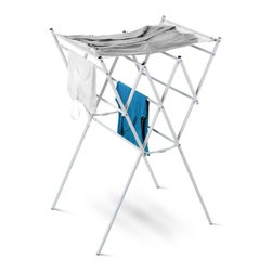 "Expandable Drying Rack With Mesh Shelf, White - Honey-Can-Do DRY-01109 Expandable Mesh Shelf Drying Rack, Silver.  Dry your clothes without an energy consuming dryer even on rainy days with this amazing expandable drying rack. For indoor or outdoor use, the rack is made from heavy-duty, chrome-plated steel rods covered with a durable white finish. Unlike a wall-mounted unit, this portable rack can be used anywhere including; the laundry room, balcony, porch, bathroom, or kitchen and folds down to 2"" flat for easy storing. A removable top mesh shelf is ideal for air-drying delicates such as sweaters, hosiery, and lingerie. With 24-linear feet of capacity to air-dry clothes using minimal floor space, this expandable drying rack can't be beat."