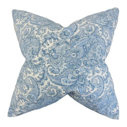 """The Pillow Collection - Indiana Paisley Pillow, Blue 18"""" x 18"""" - With its beautiful paisley pattern in shades of blue and white, this toss pillow is both stylish and functional."""