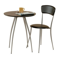 "Adesso - Cafe Table and Chair in Black (Chair Sold Separately) - The Caf Table by Adesso has four sleek, steel finished legs paired with a round table top to merge wood and metal elements perfectly. Top finishes available are black or natural over MDF for added stability and durability. Features: -Available in black -MDF wood top with four steel legs -Chair sold separately. -28"" H x 24"" diameter"