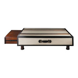 "Canvas Coffee Table - The canvas coffee table measures 46.5"" x 23.75"" x either 13.75"" or 17.75"" tall (comes with 2 sets of legs, choose the height that is best for you). The retro look, to add to our series of replica travel trunks that would have been used in the 1920s and 30s we now offer this beautiful coffee table to complete the set. Made of hardwood, covered with canvas and leather. Wealthy travelers of the Belle �poque used to order a whole set of travel trunks from eponymous and reputable luggage vendors. Some of those established brands of yore are now known for selling ladies handbags and high fashion. Travel trunks in the early 1900s were usually loaded upon arrival in a special Pullman carriage for delivery to the Grand Hotel of choice. Picnic trunks were loaded on the back of the ubiquitous Bentley or DelaHaye limo. A butler served high tea at roadside. Enjoy our handmade replica of an early Bentley picnic trunk. Two clever pullout drawers with lids serve as extendable tabletops for your very own high tea. This table is made of plantation grown hardwood covered with canvas. It has a faux leather trim. It comes with leather handles and solid brass hardware. It's colors are ivory, black and honey. It has 2 drawers on the ends with lids to extend the table top and for your remote controls."