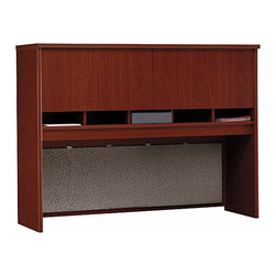 "Bush Business - 60 in. Desk Hutch in Mahogany - Series C - The 60 inch Desk Hutch in Mahogany mounts on any 60 inch desk or credenza, vastly increasing usable storage and display space!  The hutch features a fully finished back panel, four doors with European-style, self-closing, adjustable hinges and optional task lighting. * Mounts on 60"" Credenza or on any 60""-wide desk combination. Includes fabric-covered tack board for organizing key information. Fully finished back panel allows hutch to act as work partition. Accepts task lighting (not included). Four doors conceal entire upper storage area. European-style, self-closing, adjustable hinges. 58.858 in. W x 15.354 in. D x 42.992 in. H"