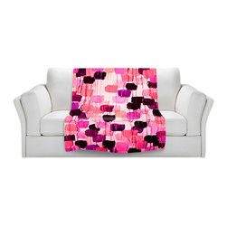 DiaNoche Designs - Fleece Throw Blanket by Julia Di Sano - Flower Brush Pink - Original Artwork printed to an ultra soft fleece Blanket for a unique look and feel of your living room couch or bedroom space.  DiaNoche Designs uses images from artists all over the world to create Illuminated art, Canvas Art, Sheets, Pillows, Duvets, Blankets and many other items that you can print to.  Every purchase supports an artist!