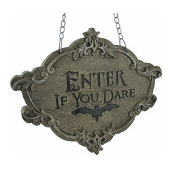 `Enter If You Dare` Wall Plaque - This wonderful wall plaque is a great addition to your Halloween decor collection! It has a Gothic, stone look to it, and warns visitors, `Enter, If You Dare!` Made of cold cast resin, it measures 10 1/4 inches long, 8 1/2 inches tall, 1 inch thick, and it has a chain hanger.