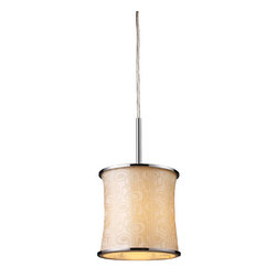 Elk Lighting - Elk Lighting 20024/1 1 Light Pendant Ceiling Fixture from the Fabrique Collectio - Elk Lighting 20024/1 Single Light Pendant from the Fabrique CollectionThe drum pendantfamily offers a vast selection of elegant lighting fixtures that will update any décor. Choose from three sizes and a host of luxurious fabrics. Each drum has chrome plated metal border rings and a translucent diffuser.Features: