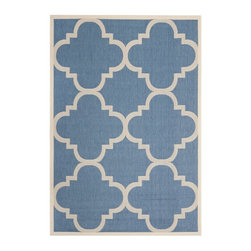 Safavieh - Safavieh Courtyard Rug, Blue/Beige - Safavieh takes classic beauty outside of the home with the launch of their Courtyard Collection. Made in Turkey with enhanced polypropylene for extra durability, these rugs are suitable for anywhere inside or outside of the house. To achieve more intricate and elaborate details in the designs, Safavieh used a specially-developed sisal weave.