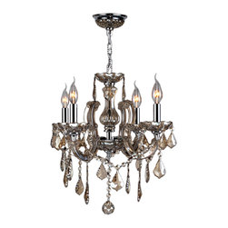 """Worldwide Lighting - Catherine 4 Light Chrome Finish Golden Teak Crystal Chandelier 18"""" x 18"""" Medium - This stunning 4-light Crystal Chandelier only uses the best quality material and workmanship ensuring a beautiful heirloom quality piece. Featuring a radiant chrome finish and finely cut premium grade golden teak (translucent champagne color) crystals with a lead content of 30%, this elegant chandelier will give any room sparkle and glamour. Worldwide Lighting Corporation is a privately owned manufacturer of high quality crystal chandeliers, pendants, surface mounts, sconces and custom decorative lighting products for the residential, hospitality and commercial building markets. Our high quality crystals meet all standards of perfection, possessing lead oxide of 30% that is above industry standards and can be seen in prestigious homes, hotels, restaurants, casinos, and churches across the country. Our mission is to enhance your lighting needs with exceptional quality fixtures at a reasonable price."""