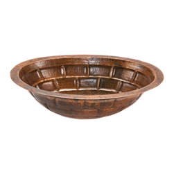 Premier Copper Products - Oval Stacked Stone Under Counter Copper Sink - Uncompromising quality, beauty, and functionality make up this Premier Oval Under Counter Hammered Copper Bathroom Sink With Stacked Stone Design.