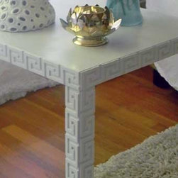 Greek Key Lack Table Kit - Add Greek key overlays to Ikea Lack tables for fabulous and very budget-friendly bedside tables.