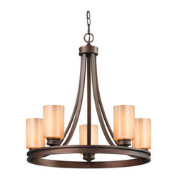 Golden Lighting - Golden Lighting 1051-5-SBZ Hidalgo 5 Light Chandelier, Sovereign Bronze - Hidalgo Five Light Chandelier in the Sovereign Bronze finish with Regal Glass