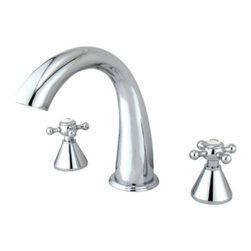 """Kingston Brass - Kingston Brass Polished Chrome Roman Two Handle Roman Tub Filler KS2361BX - Solid brass construction for durability and reliability, Premium color finish resists tarnishing and corrosion, 13.0 GPM at 60 PSI, 7-1/8"""" spout reach, 8-7/16"""" spout height, 5-1/4"""" spout clearance, 3/4""""-14NPS, 1/4 turn ceramic disc cartridge, 8""""-16"""" widespread installation, Ten year limited warranty.. Manufacturer: Kingston Brass. Model: KS2361BX. UPC: 663370073014. Product Name: Two Handle Roman Tub Filler. Collection / Series: Roman. Finish: Polished Chrome. Theme: Contemporary / Modern. Material: Brass. Type: Faucet. Features: Drip-free ceramic cartridge"""