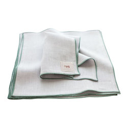 """Non-Perishable Goods - Everyday Linen Napkins Portland Collection Set of 6, 11""""x11"""", Cloud with Mint - We believe that food tastes better and is more appreciated when accompanied by a cloth napkin! (not to mention creates less waste!)"""