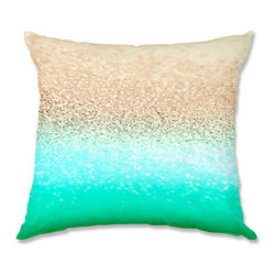 DiaNoche Designs - Pillow Linen - Monika Strigel Gatsby Aqua Ombre Gold - Add a little texture and style to your decor with our Woven Linen throw pillows. The material has a smooth boxy weave and each pillow is machine loomed, then printed and sewn in the USA.  100% smooth poly with cushy supportive pillow insert with a hidden zip closure. Dye Sublimation printing adheres the ink to the material for long life and durability. Double Sided Print, machine wash upon arrival for maximum softness. Product may vary slightly from image.