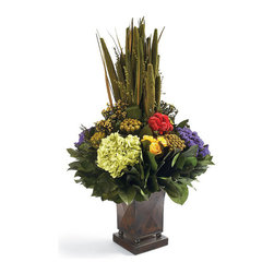 Frontgate - Carnivale Floral Arrangement - Naturally preserved blooms and leaves. Hand arranged. Tall, square copper-finished vase. Never needs watering. Made in USA. Celebrate every season with the colorful Carnivale Floral Arrangement. A variety of naturally preserved pensularia, hydrangea, leaves, and other flora are hand gathered in the classic copper-finished vase.  . . .  . .