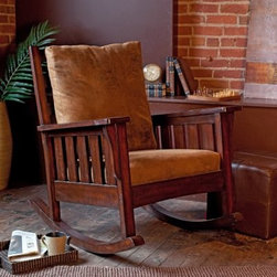 Belham Living Remington Mission Rocker - Walnut - With a chair this comfortable, you'll be rocking around the clock. With its classic Mission style, the Remington Mission Rocker - Walnut blends stylish seating and quality craftsmanship. Available only at Hayneedle, this elegantly designed rocking chair is cushioned for ultimate comfort. The seat and chair back feature easy-to-clean microfiber cushions in brown. The arms are flat and wide with stylish vertical slats under the armrests. Constructed of durable birch wood in a warm walnut finish, this indoor rocker has a 20-inch seat height. Assembly is required.About Belham LivingBelham Living builds catalog-quality furniture in traditional styles at a price that actually makes sense. By listening to our customers and working closely with great manufacturers, we build beautiful pieces worthy of your home. Rich wood finishes, attention to detail, and stylish lines that tie everything together are some of the hallmarks of a Belham Living piece. From the living room or bedroom, through the kitchen, and out onto the deck, there's something from an incredible Belham collection perfect for your style.