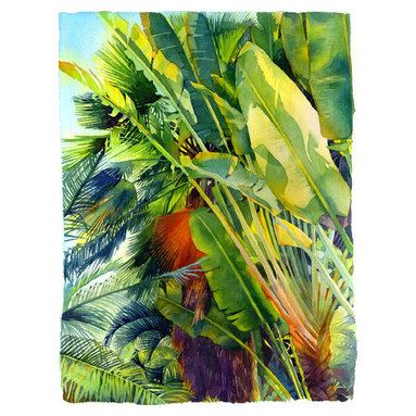 Cayman Palm Watercolor Art - Watercolor pigmented print. Reproduced on watercolor paper with deckled edges. Signed and numbered