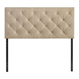Modway Furniture - Modway Theodore Queen Headboard in Beige - Queen Headboard in Beige belongs to Theodore Collection by Modway The versatility of this element of decor emphasizes its importance. As the headboard functions as the centerpiece of your bedroom, Theodore's deep button tufting makes sure to convey a classic style that can't be dressed down. Fully upholstered in padded faux leather, the Theodore headboard imbues a strong sense of style, while presenting a modern piece full of boxy lines that accessorize with many looks. Set Includes: One - Theodore Headboard Headboard (1)