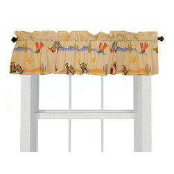 "Room Magic - Cowboy Window Valance - Our Cowboy window valance coordinates with the bedding fabric, knobs and accessories to make the room theme complete. Designer print has cactus, sherriff badges and colorful western boots of every kind. 15""H x 59"" W."
