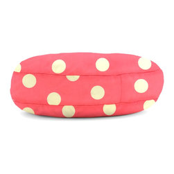 """Comfort Research - Wuf Fuf Oxygen Candy Pink with White Dot Twill Pet Bed (50"""" Round) - Woof! Bark! Ruff, ruff, ruff!"""" That's pet language for, """"The Wuf Fuf Pet Bed Collection is the stylish, comfortable way for me to mark my territory! It's more durable than a chew toy, softer than my owner's lap and more fashionable than this dog collar I'm forced to wear. Now excuse me, but I smell food!"""
