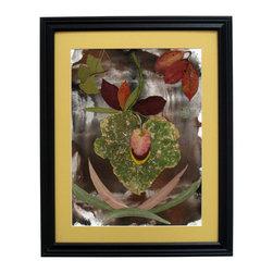 "Evening Beauty, Oshibana Art - Oshibana (pressed plants) artwork in a 16"" x 20"" black frame."