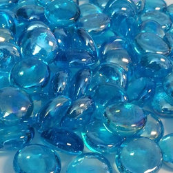 """Finishing Touch Products - 8 Pound Container 3/4"""" Aqua Metallic Glass Flat Beads - Color: Aqua Metallic"""