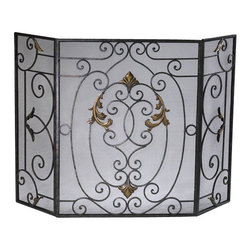 Cyan Design - French Fire Screen - French fire screen - rust with gold accents