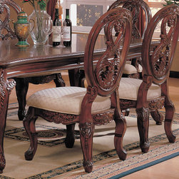 Coaster - Nottingham Collection Side Chair in Cherry, Set of 2 - This collection of elaborate carvings and careful detail brings forth the kind of beauty reserved only for the master dinning room. Made of birch solids and veneers.
