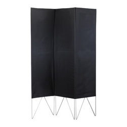 "Adesso Inc. - Vector Black Folding Screen - One solid polyester fabric envelope is stitched to create three separate panels. This envelope slips over the top of the metal folding frame. Each section has a set of V legs.  Available in black or natural with powder coated steel legs.  Each panel: 17"" Width, 55"" Height.  Total Screen: 52"" Width, 1"" Depth, 69"" Height.  13"" clearance from floor to screen bottom."
