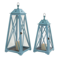 "Benzara - The Appealing Set of 2 Wood Glass Lantern - Are you looking for a lantern that is tall, appealing and reminds you of the lanterns used in the past? Well, if you are then you may stop your search because the wood glass lantern will just be perfect for you. With a structure that gives the impression of a lighthouse, this bluish lantern is looks and utility combined. Not only will it be perfect for occasions when the power fails, but at other times too it will add color and nostalgic glamour to your living room. Its glass and wood structure is simply exquisite. Plus this lantern has been made using quality materials. This ensures that it will stand the test of time. Guests will certainly be impressed with its looks and complements will flood in your way. Perfect for all homesG��this wood glass lantern simply cannot be overlooked. Wood glass lantern dimensions: 14 inches (W) x 14 inches (D) x 33 inches (H); 12 inches (W) x 12 inches (D) x 26 inches (H); Lantern color: Bluish; Made from: Wood; Dimensions: 17""L x 17""W x 32""H"