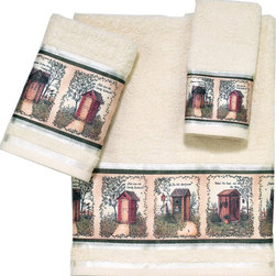 Avanti Linens - Outhouses 3 Piece Cotton Towel Set By Avanti Linens - Create a country theme with these Outhouses bath towels. The decorative outhouse imagery provides a rustic setting in your bathroom. Towels are beige in color.