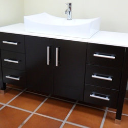 """Modern Bathroom Vanity with White Basin, Espresso, 55"""" - Cabinet is made out of  Pure Oak Wood"""
