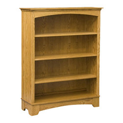 Chelsea Home Furniture - Chelsea Home Middlesex 48 Inch Bookcase in Red Oak - This Middlesex Bookcase, shown in red Oak with a red Sienna finish, has 3 adjustable shelves to help you better display all of your favorite novels or textbooks. With mission style hand construction, this book case is clean and simple to go with any living space decor. Chelsea Home Furniture proudly offers handcrafted American made heirloom quality furniture, custom made for you. What makes heirloom quality furniture? It's knowing how to turn a house into a home. It's clean lines, ingenuity and impeccable construction derived from solid woods, not veneers or printed finishes over composites or wood products _ the best nature has to offer. It's creating memories. It's ensuring the furniture you buy today will still be the same 100 years from now! Every piece of furniture in our collection is built by expert furniture artisans with a standard of superiority that is unmatched by mass-produced composite materials imported from Asia or produced domestically. This rare standard is evident through our use of the finest materials available, such as locally grown hardwoods of many varieties, and pine, which make our products durable and long lasting. Many pieces are signed by the craftsman that produces them, as these artisans are proud of the work they do! These American made pieces are built with mastery, using mortise-and-tenon joints that have been used by woodworkers for thousands of years. In addition, our craftsmen use tongue-in-groove construction, and screws instead of nails during assembly and dovetailing _both painstaking techniques that are hard to come by in today's marketplace. And with a wide array of stains available, you can create an original piece of furniture that not only matches your living space, but your personality. So adorn your home with a piece of furniture that will be future history, an investment that will last a lifetime.