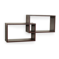 Intersecting Walnut Rectangular Shelves, Set of 2