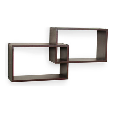 Danya B. - Intersecting Walnut Rectangular Shelves (Set of 2) - This box gives your wall that one-two punch. Two intersecting rectangles are made of MDF and laminate in a deep walnut finish, and provide endless ideas for displaying your favorite books, CDs or decorative items. They can be hung either horizontally or vertically with the hardware included.
