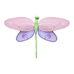 Bugs-n-Blooms - Hanging Dragonfly Medium Pink Purple Green Hailey Baby Bedroom Kids Childrens Wa - Hanging Hailey Dragonfly - Beautiful nylon hanging kids wall or ceiling decor, baby decoration, childrens decorations.  Ideal for Baby Nursery Kids Bedroom Girls Room.  This nylon Dragonfly have a different colored top wing, bottom wing and body to make this a unique & exclusive designed Dragonfly decoration.  This pretty Dragonfly decoration is made with a soft bendable wire frame. Beautiful 3D hanging nursery, bedroom, birthday party, baby shower or wedding decor.  Includes a piece of fishing line and hoop for easy hanging to any wall or ceiling (removable if desired).  Sold individually.  Visit our store for more great items.  Additional sizes are available in various colors, please see store for details.  Please visit our store on 'How To Hang' for tips and suggestions.  Please note: Sizes are approximate and are handmade and variances may occur.  Price is per each dragonfly (1) piece