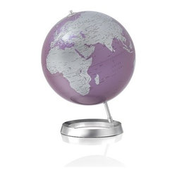 "Full Circle Vision Globe (Amethyst) Design By Tecnodidattica, Amethyst - Full Circle Vision Globe  Globe-making started at Tecnodidattica (Italy) in 1949 when father, Riccardo Donati and son, Renato experimented with handmade globes for educational purposes to add to their line of office supplies and stationery.  Today Tecnodidattica supplies the world with National Geographic Globes and this particularly fine collection of Atmosphere globes. Largely still handmade, the globes are blown much like glass, and assembled on their bases using designs from various gifted designers and engineers. Designed by Claus Jensen & Henrik Holbaek, Tools   Features 11.8"" Diameter 14.6""H 3.1 lbs Polystyrene under paper/plastic coating Aluminum base"