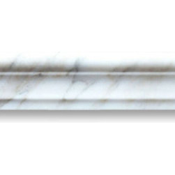 "Stone Center Online - Calacatta Gold 2 x 12 Chair Rail Trim Molding Polished - Marble from Italy - Premium Grade Calacatta Marble Italian Calcutta Gold Polished 2x12"" Chair Rail Wall & Floor Tiles are perfect for any interior/exterior projects such as kitchen backsplash, bathroom flooring, shower surround, window sill, dining room, hall, etc. Our large selection of coordinating products is available and includes hexagon, herringbone, basketweave mosaics, field, subway tiles, borders, baseboards, and more."