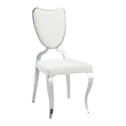 Chintaly Imports - White Heart Back Cabriole Designed Legs (Set of 2) - Modern designed side chair, Durable PU seat cushion and backrest, Heart shaped backrest, Beautiful cabriole designed legs