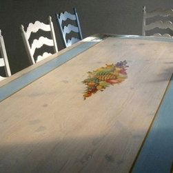Trestle Base Dining Table With Hand Painted Fruit Scene - Made by www.ecustomfinishes.com