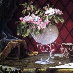"""Martin Johnson Heade Still Life with Apple Blossoms in a Nautilus Shell - 16"""" x - 16"""" x 20"""" Martin Johnson Heade Still Life with Apple Blossoms in a Nautilus Shell premium archival print reproduced to meet museum quality standards. Our museum quality archival prints are produced using high-precision print technology for a more accurate reproduction printed on high quality, heavyweight matte presentation paper with fade-resistant, archival inks. Our progressive business model allows us to offer works of art to you at the best wholesale pricing, significantly less than art gallery prices, affordable to all. This line of artwork is produced with extra white border space (if you choose to have it framed, for your framer to work with to frame properly or utilize a larger mat and/or frame).  We present a comprehensive collection of exceptional art reproductions byMartin Johnson Heade."""