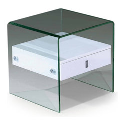 Modern glass white end table with drawer Bella - Modern end table Bella features modern and functional design. The frame is made of clear bent tempered glass. There is a white colored wooden insert with a drawer.