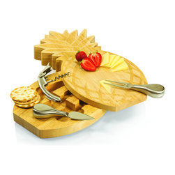 Picnic Time - Pineapple Cutting Board and Cheese Tools - The Pineapple cutting board and tool set is a split-level,laser-engraved rubberwood cheese board. Just as the pineapple has long been considered a symbol of hospitality,this cheese board will certainly help make your guests feel welcome.